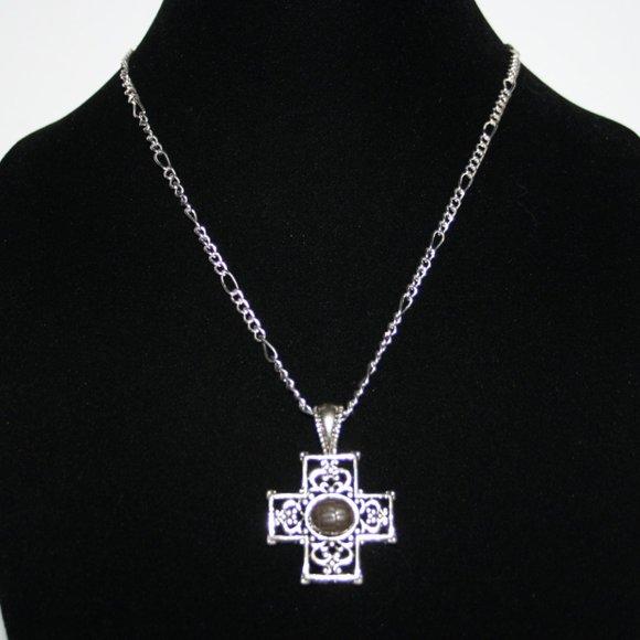 "Beautiful silver cross necklace 20"""